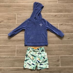 Old Navy Swim Trunks and Hoodie Coverup 3T